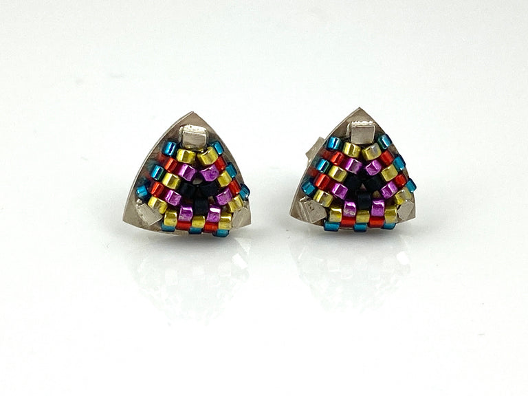 Sterling silver -Hand-stitched glass beads  Signature Collection Studs in Rainbow