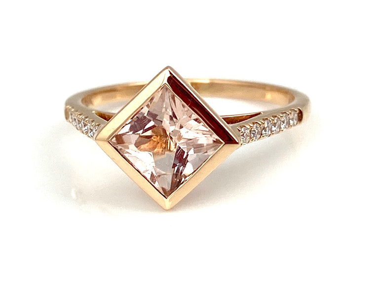 Square Morganite Ring