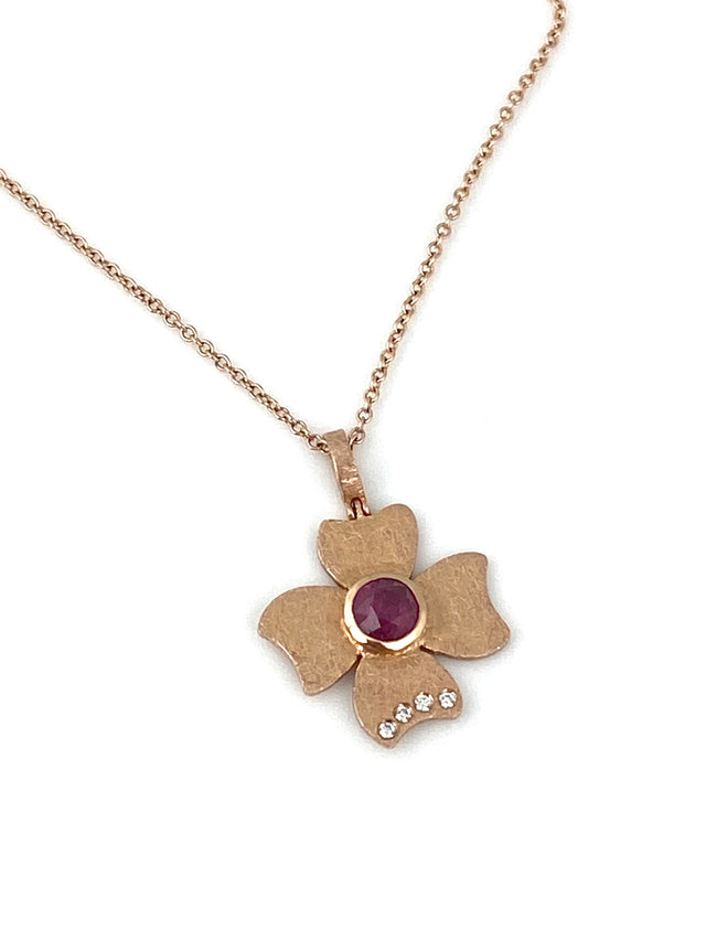 RUBY & ROSE GOLD FLOWER NECKLACE