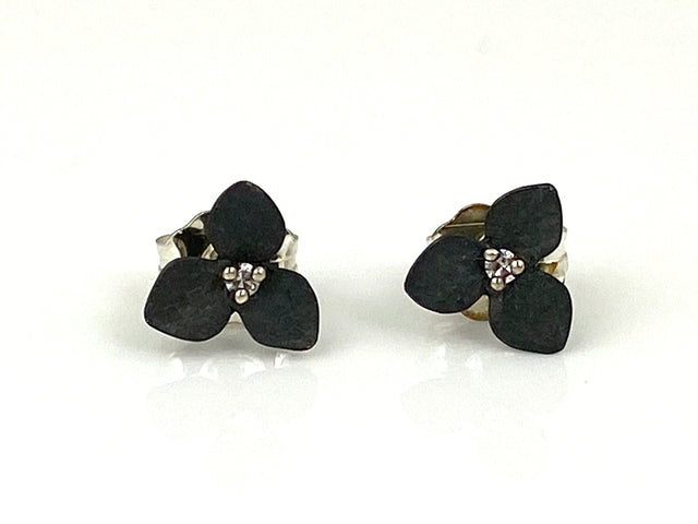 3-Petal Studs w/Diamonds