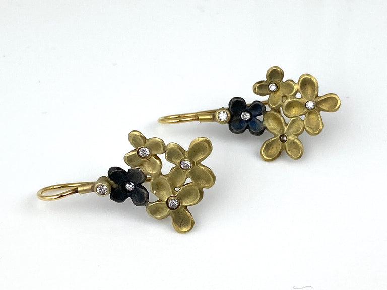 """HYDRANGEA"" STERLING SILVER AND 18K YELLOW GOLD EARRINGS WITH DIAMOND"