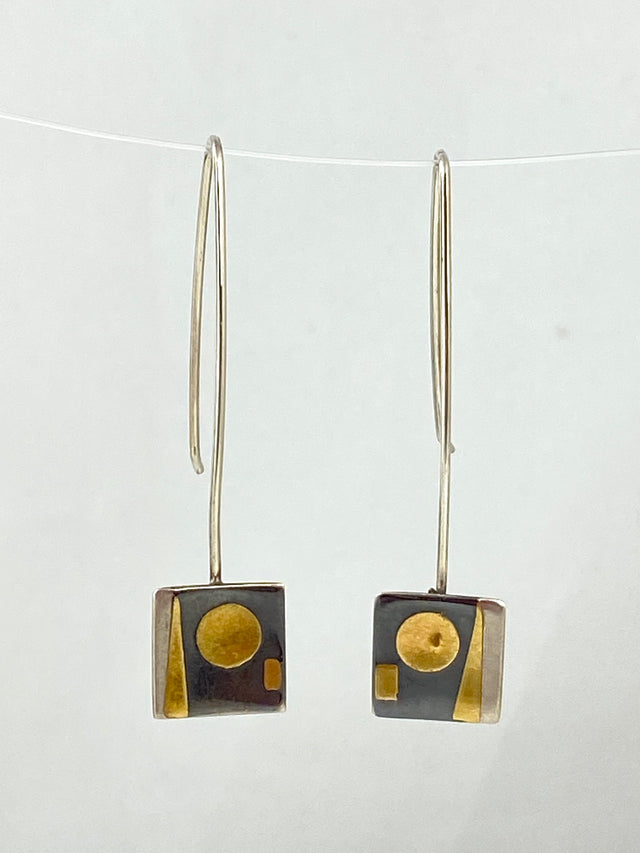 Oxidized Silver & Yellow Gold Earrings