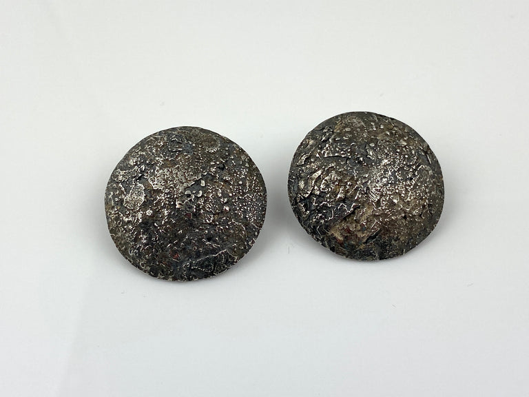 Rob Weingartner large round textured SS earrings