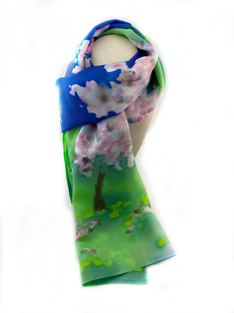 Cherry Tree in Blossom Silk Scarf