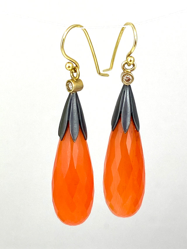 STERLING & 18KYG CARNELIAN BRIOLETTE EARRINGS