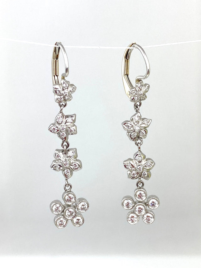 Diamond Flower Drop Earrings