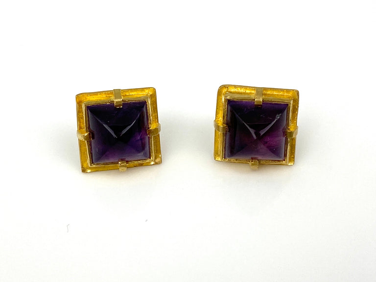 VETUS AMETHYST STUD EARRINGS