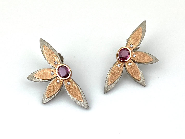 Pink Sapphire Earrings in Palladium