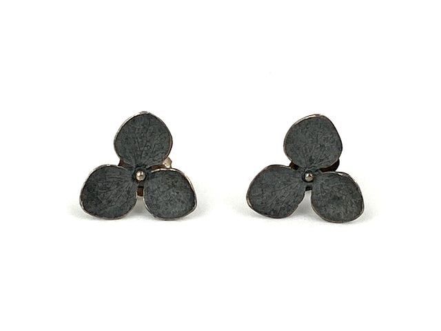 3-Petal hydrangea studs in sterling silver with a black finish.