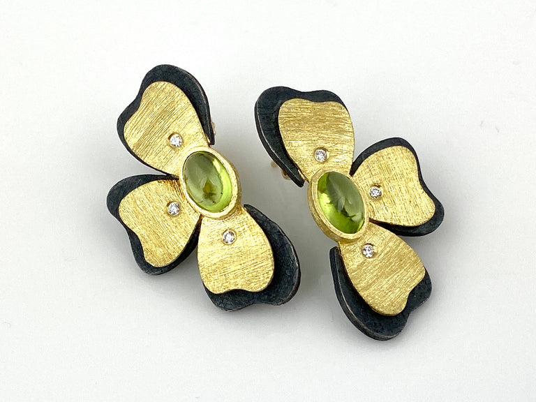 Peridot Half-Flower Earrings