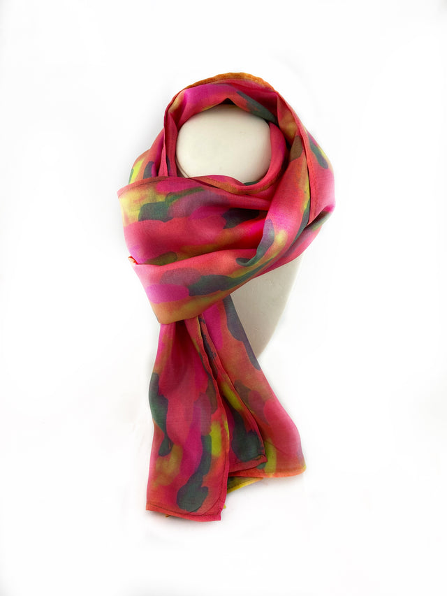 Abstract Reds & Greens Silk Scarf