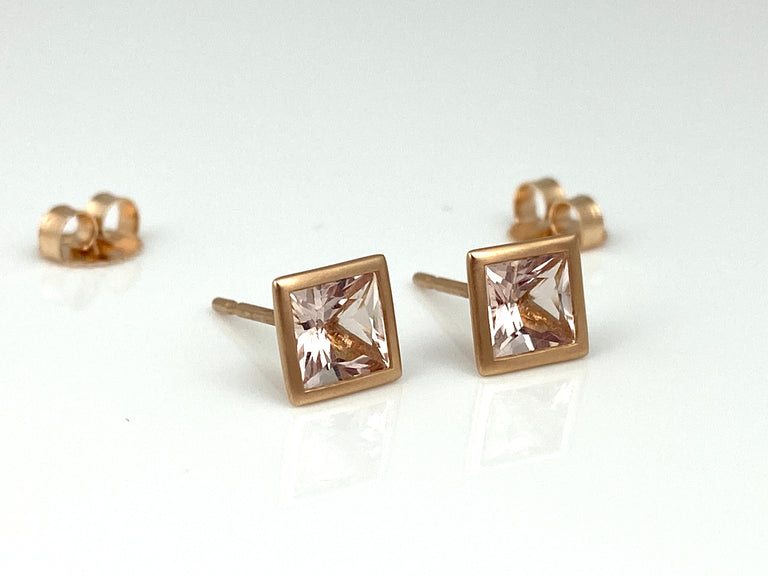 Morganite Square Bezel Ear Studs
