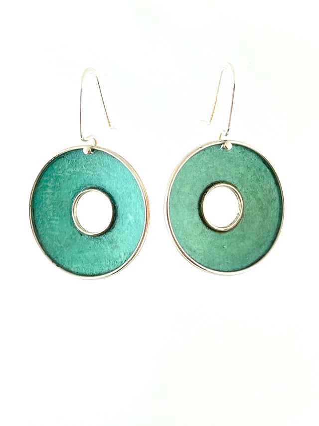 Oxidized Copper Open Circle Earrings