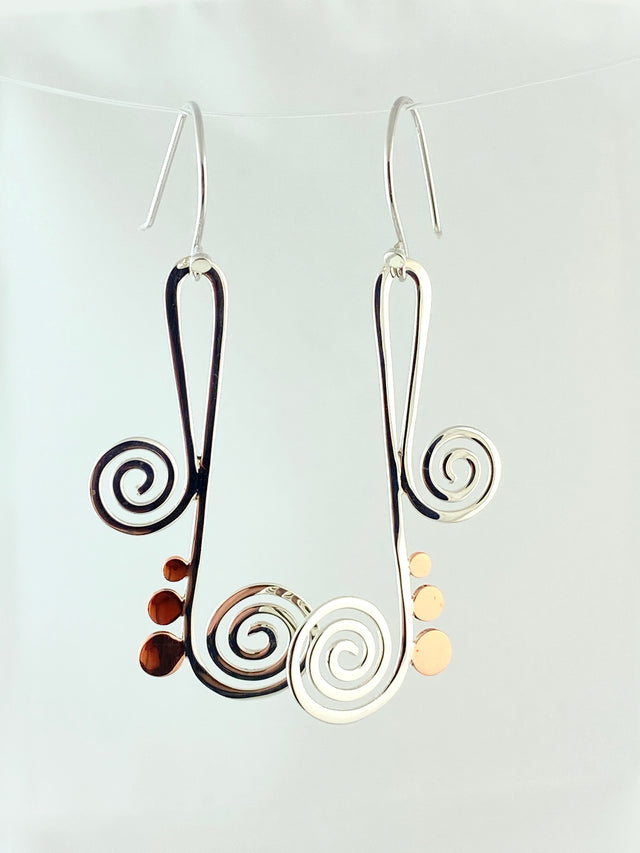 Silver & Copper Swirl Earrings