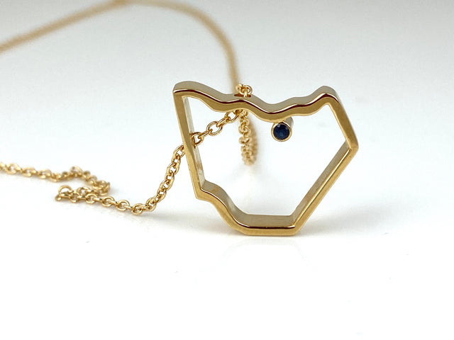 Gold Plated Mason Co Pendant w/Sapphire