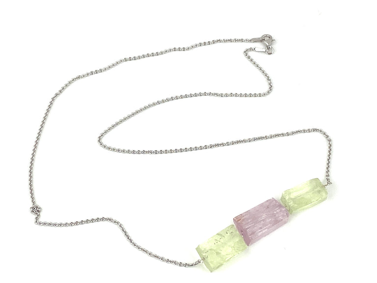 Morganite & Green Beryl Gem Bar Necklace
