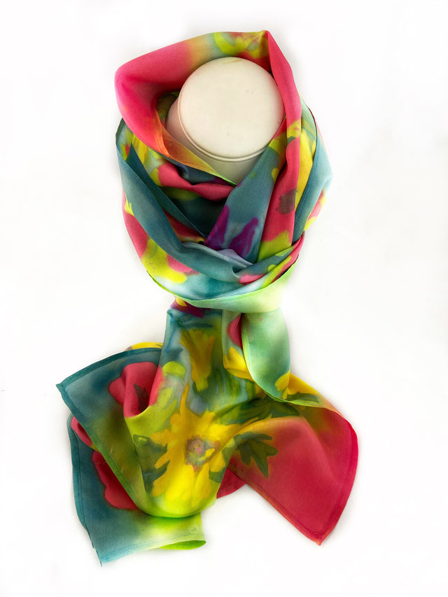 Multi-Flower Extra Long Silk Scarf