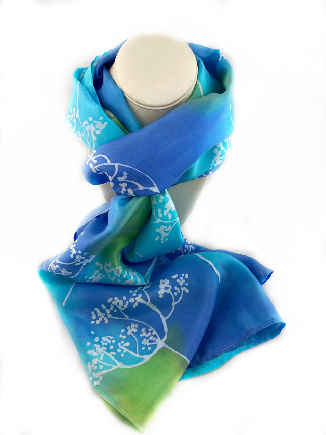 Blue and Green Batik Silk Scarf