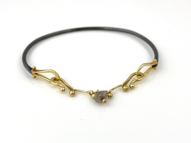 Yellow Gold Bracelet w/Raw Diamond