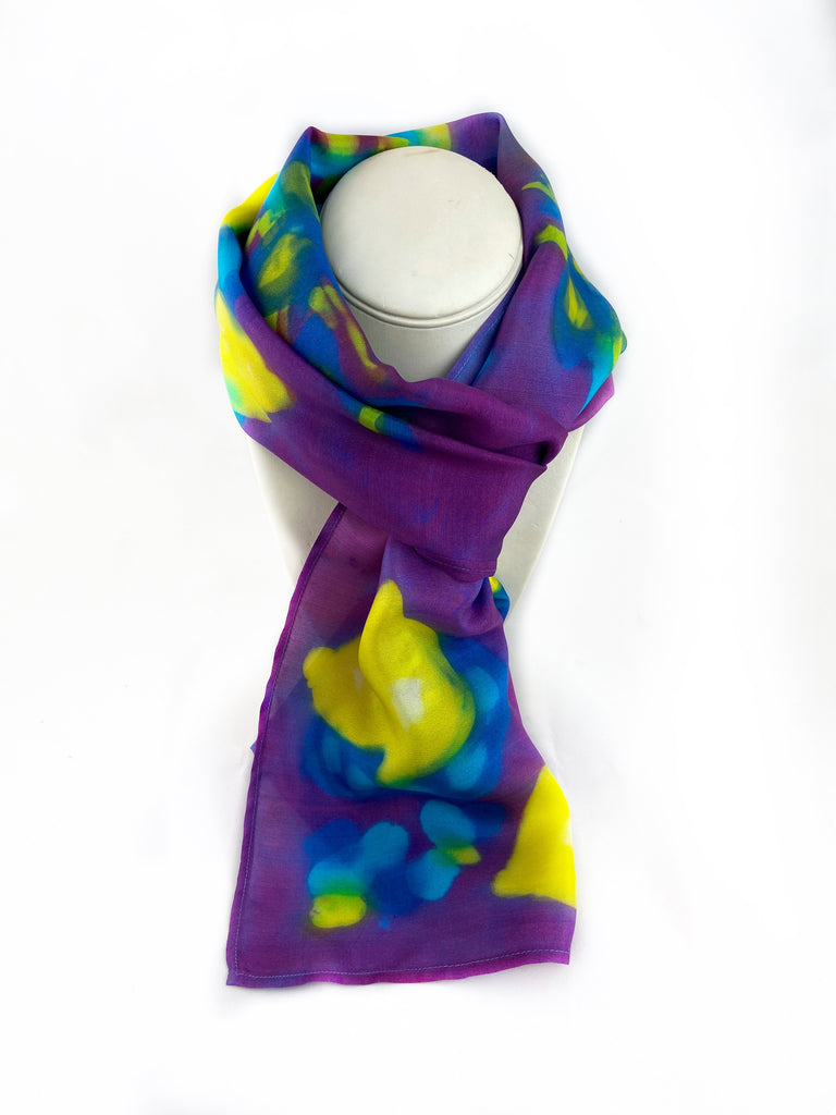 Lemons and Iris Silk Scarf