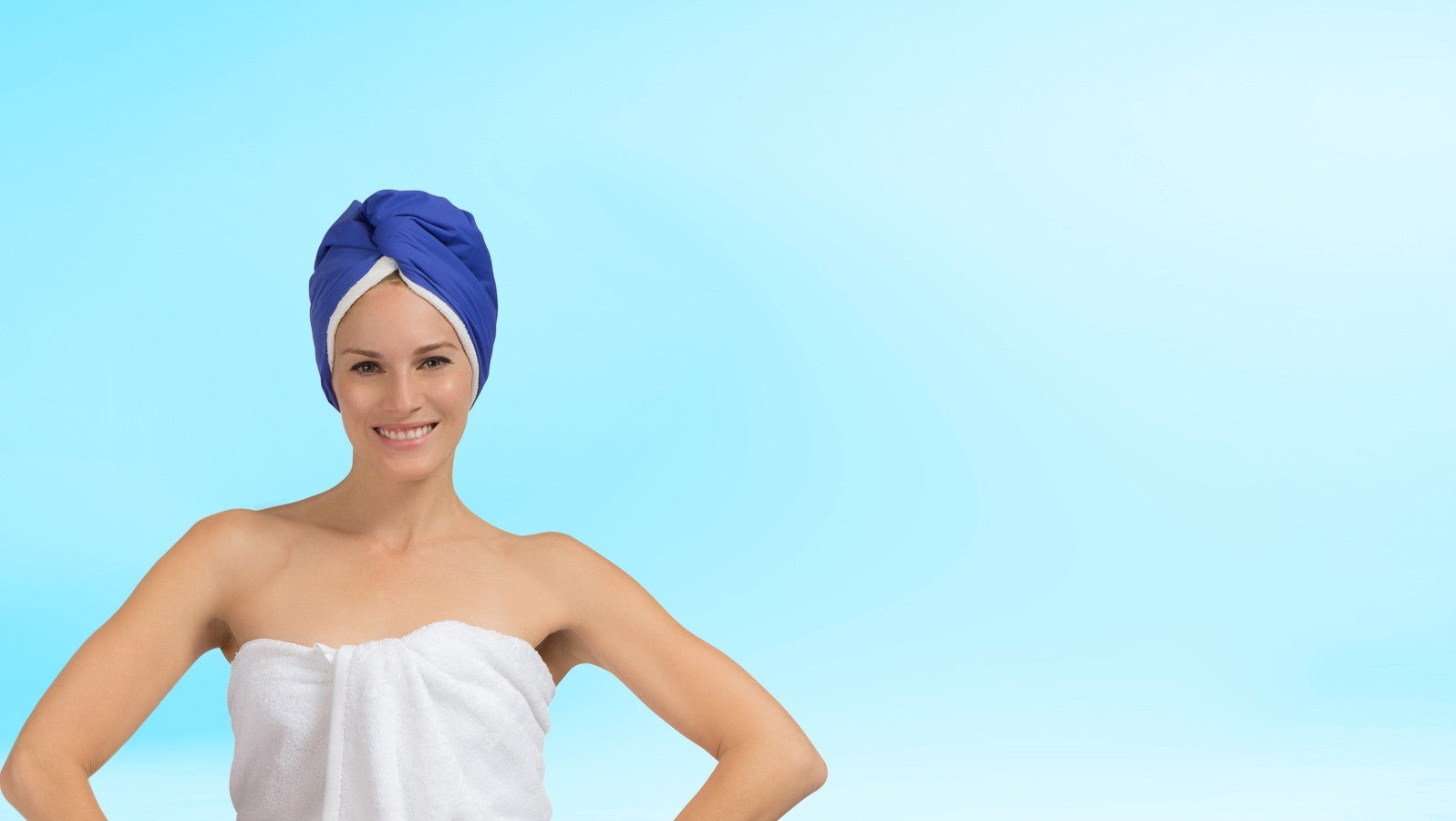 Turban style shower cap with microfiber terry lined hair towel Swarovski button TURBELLA 2-IN-1