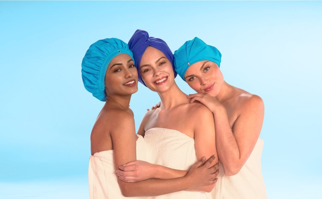 Top shower turbans, satin bathing caps, terry-cloth lining hair-drying wraps for ladies, men, girls by TURBELLA