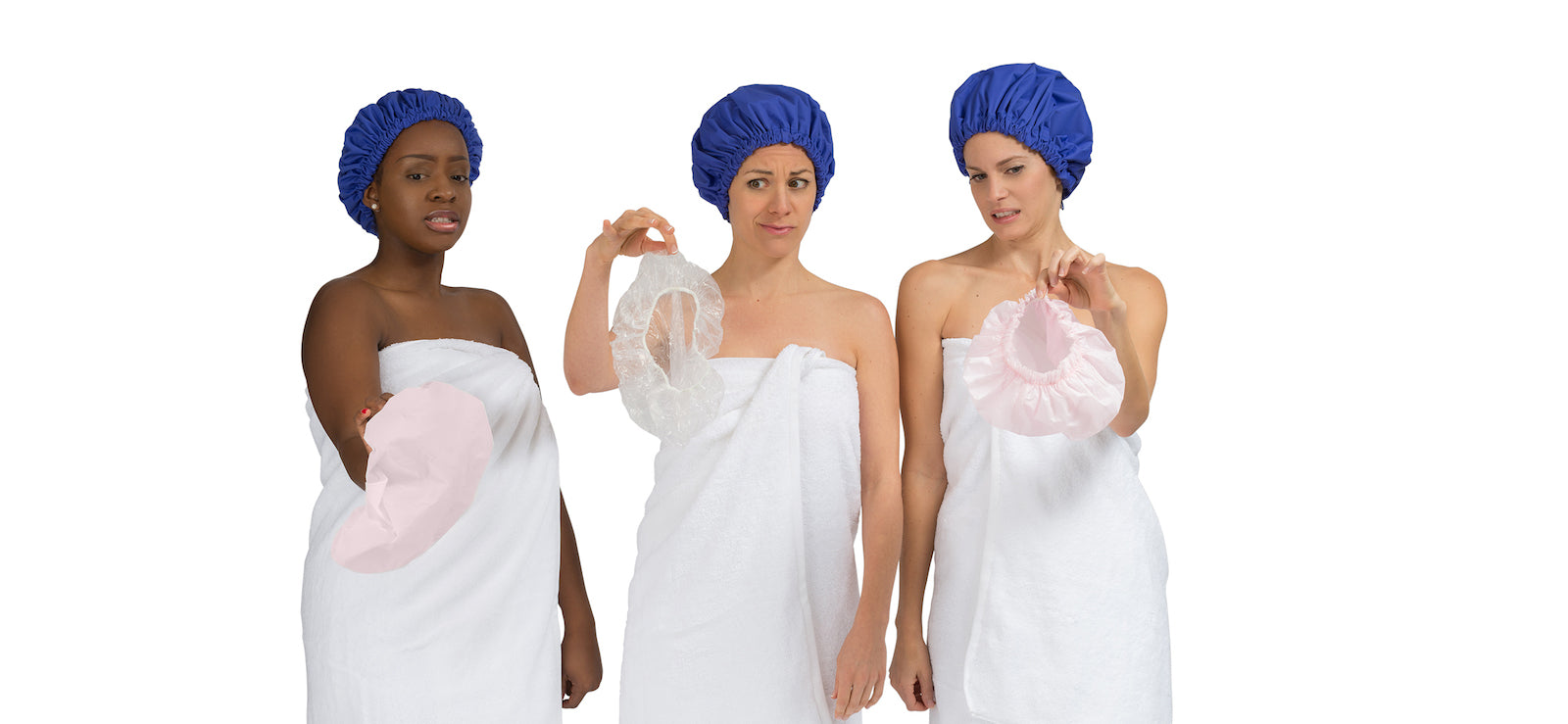 Models wearing Superpower Cap - shower cap to protect a blow-dry, braids or curly hairstyles from humidity, WP/BR fabric