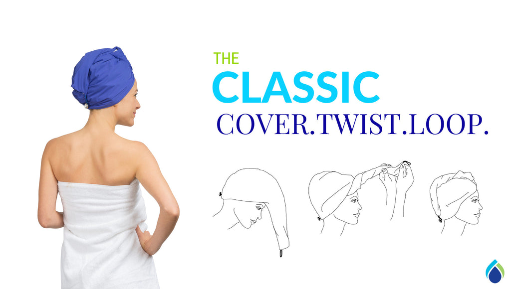 terry lined waterproof satin shower cap and turban for wet with Swarovski button TURBELLA 2in1