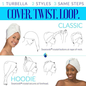 How to Wrap A Turban: 2 Designer Styles by Enwrapture Hair Towel Turban Twist For Wet Hair, Turbella Shower Gear Collection