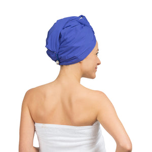 terry lining silky shower cap for women and wet hair turban wrap combination terrycloth lined shower cap combo Turbella 2-in-1