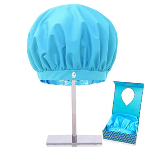 Reusable shower caps for women, machine washable, mold mildew resistant, eco-friendly aqua blue