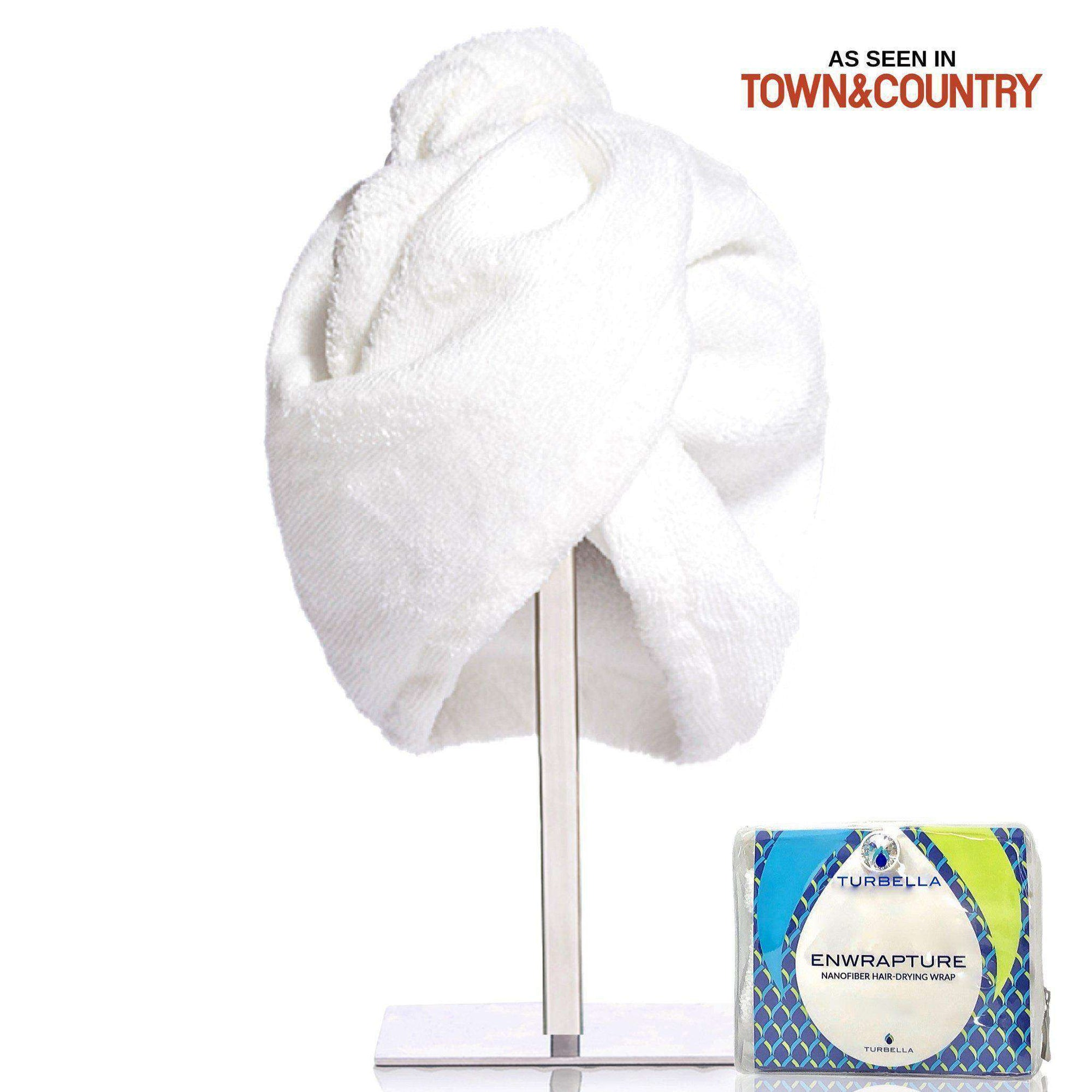 best hair towel turban twist to dry wet hair better than microfiber wrap Enwrapture with Swarovski button made in USA