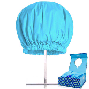 best oversize reusable shower cap for women and men with waist-length and thick hair reviews blue