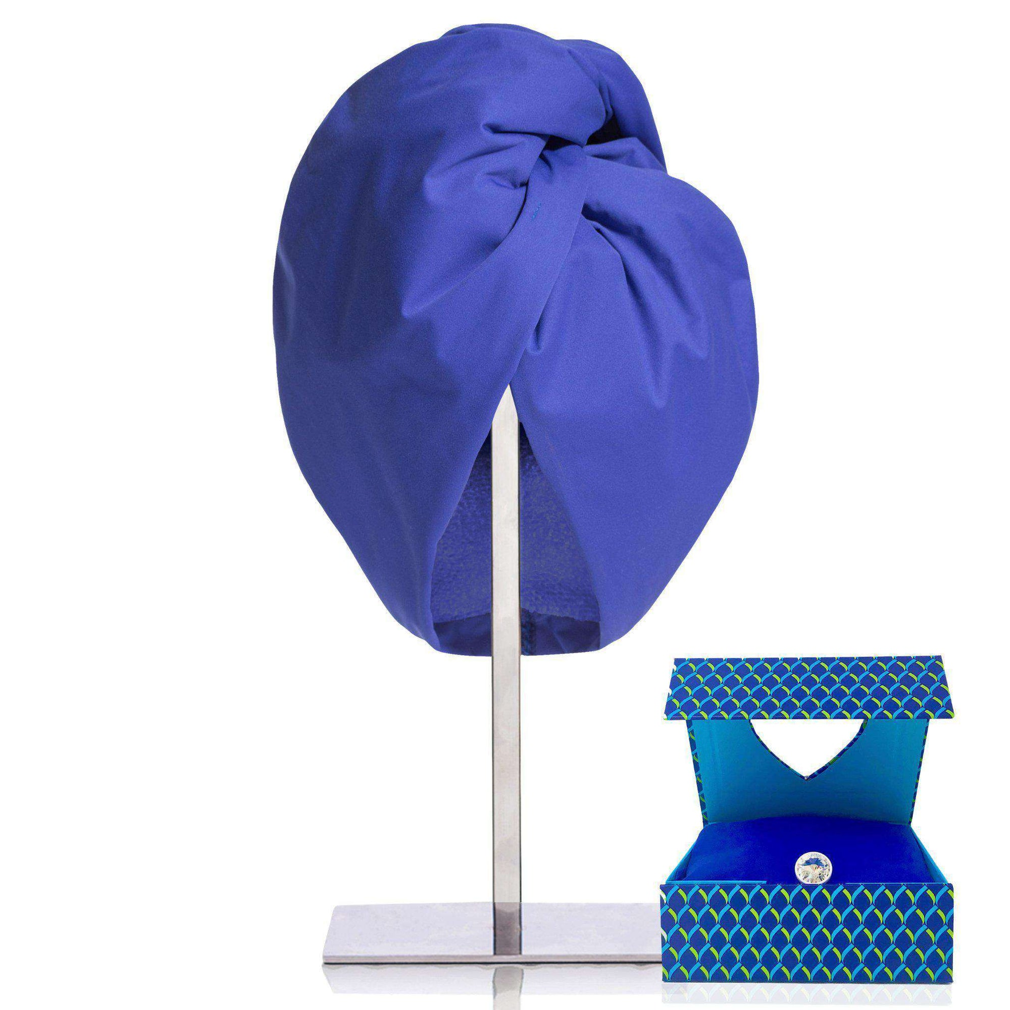 ladies shower cap turban and hair towel twist wrap combination black blue