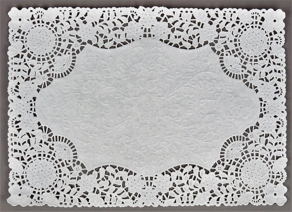 "RECTANGULAR White Doily Placemats | Floral Lace | 10"" x 14"""