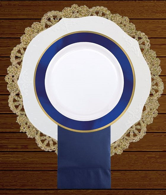"12"" doily charger shown with a plate for sizing"