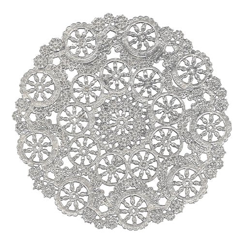 "Silver medallion doilies in 4"", 5"", 6"", 8"", 10"" and 12"" round sizes"