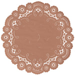 "Acorn brown color paper doilies available in the delicate French lace style and in sizes ranging from 4"" to 12"""