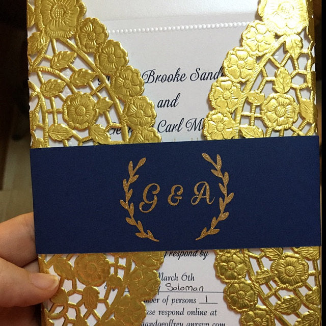 "10"" gold doilies used for a 5x7 DIY wedding invitation"