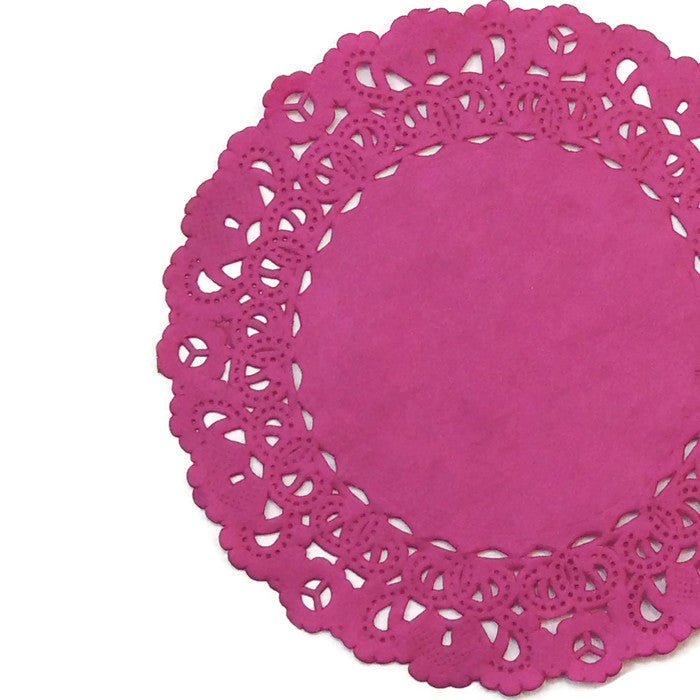 "RASPBERRY PINK Round Paper Doilies | Normandy | Chargers, Placemats, Invitations | 4"", 5"", 6"" 8"", 10"", 12"", 14"", 16"""