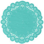 "Aqua ocean color paper doilies available in the delicate French lace style and in sizes ranging from 4"" to 12"""