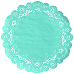 "Aruba blue color paper doilies available in the delicate French lace style and in sizes ranging from 4"" to 12"""