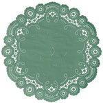 "Aspen green color paper doilies available in the delicate French lace style and in sizes ranging from 4"" to 12"""