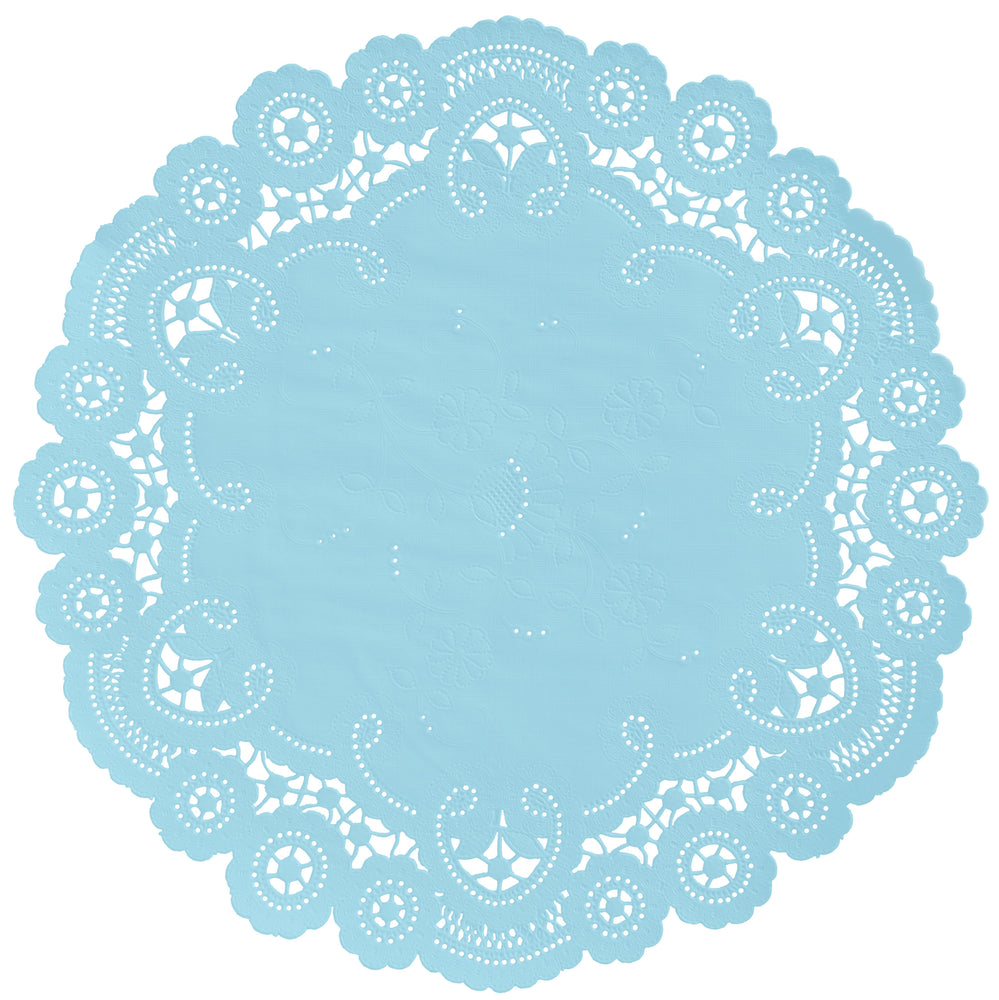 "Baby blue color paper doilies available in the delicate French lace style and in sizes ranging from 4"" to 12"""