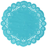 "Bahama blue color paper doilies available in the delicate French lace style and in sizes ranging from 4"" to 12"""