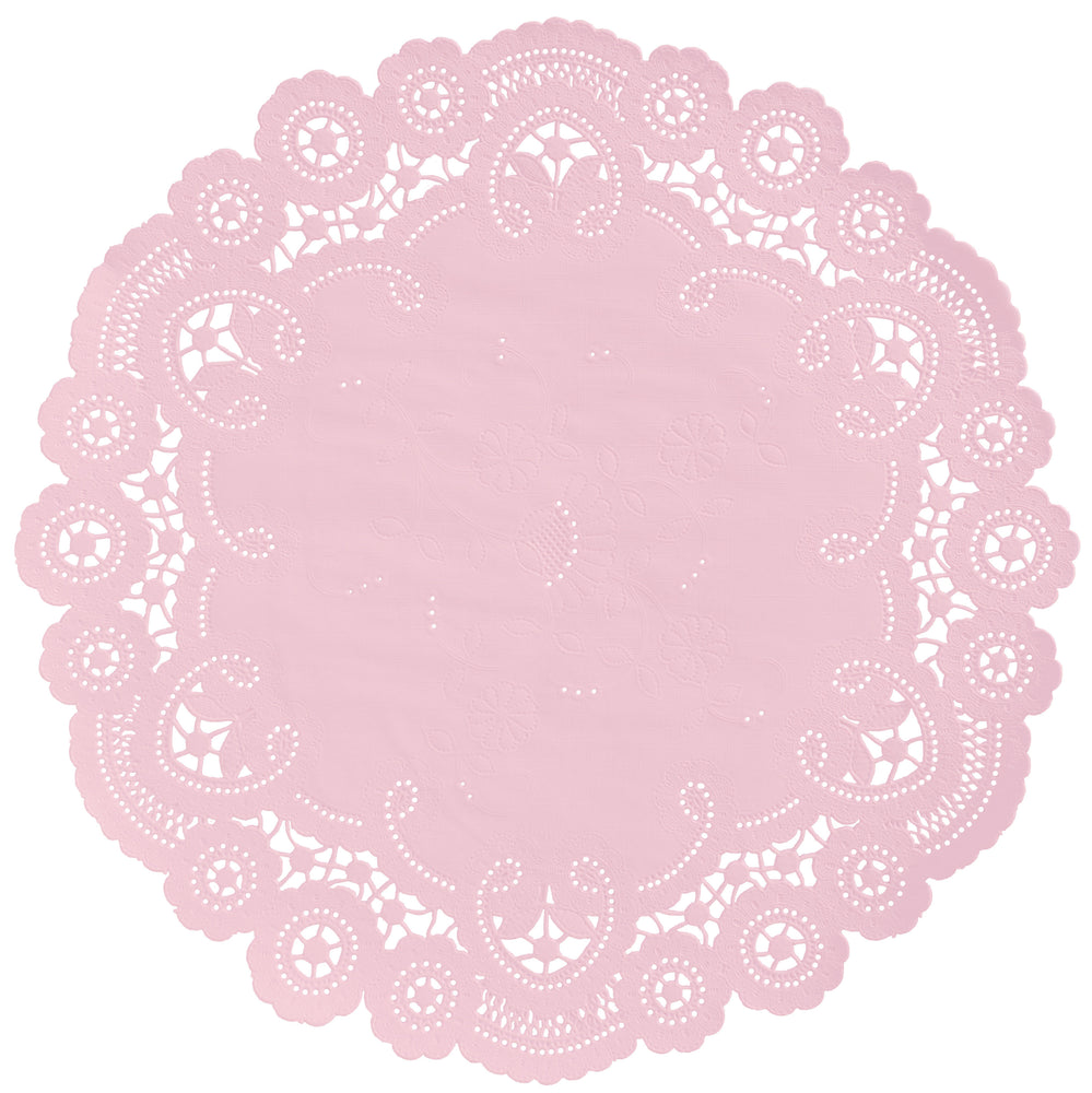"Ballerina pink color paper doilies available in the delicate French lace style and in sizes ranging from 4"" to 12"""