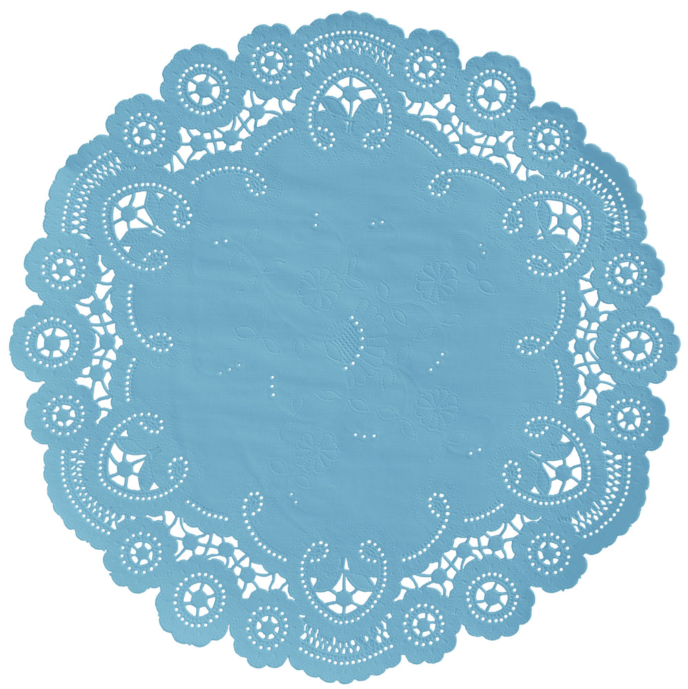 "Balley blue color paper doilies available in the delicate French lace style and in sizes ranging from 4"" to 12"""