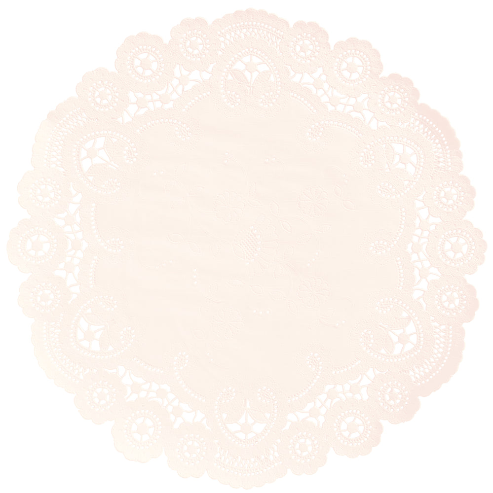 "Barely apricot color paper doilies available in the delicate French lace style and in sizes ranging from 4"" to 12"""