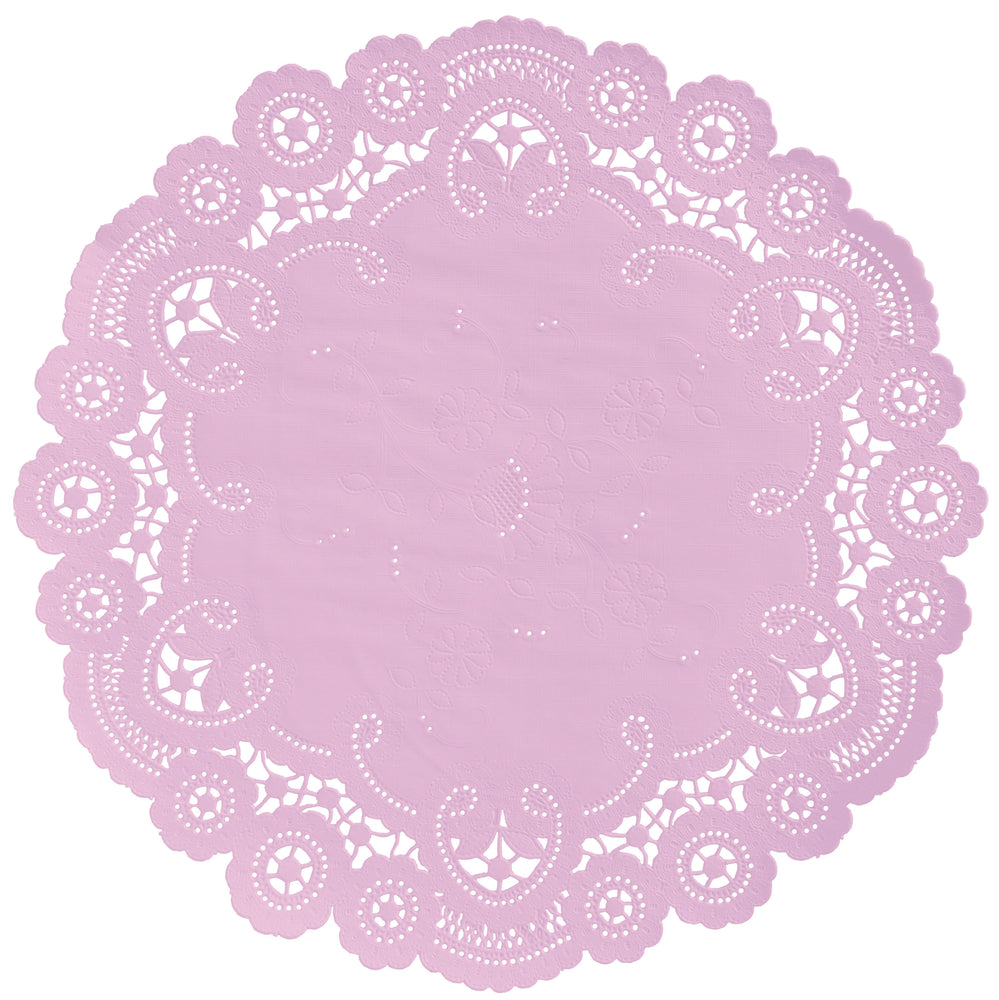 "Barely mauve color paper doilies available in the delicate French lace style and in sizes ranging from 4"" to 12"""