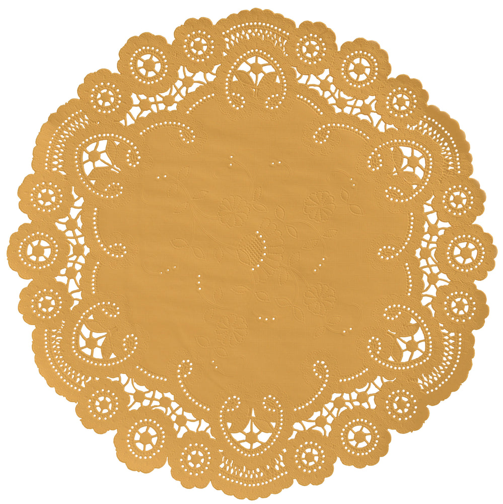 "Beeswax color paper doilies available in the delicate French lace style and in sizes ranging from 4"" to 12"""